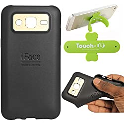 DMG iFace Scratch-Resistant Slim Silicone Shock Proof TPU Back Cover Case for Samsung Galaxy J5 J500 (Black) + Touch U Mobile Stand