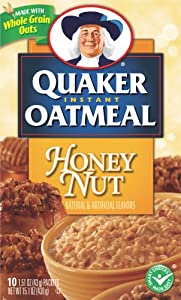 Quaker Instant Oatmeal Honey Nut Flavor, 15.1-Ounce Boxes (Pack of 6)