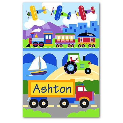 Olive Kids Trains Planes And Trucks Personalized Unframed Art Print front-987872