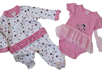 Baby Gear 3 Piece Set Bodysuit, Sleeper & Headband Pink