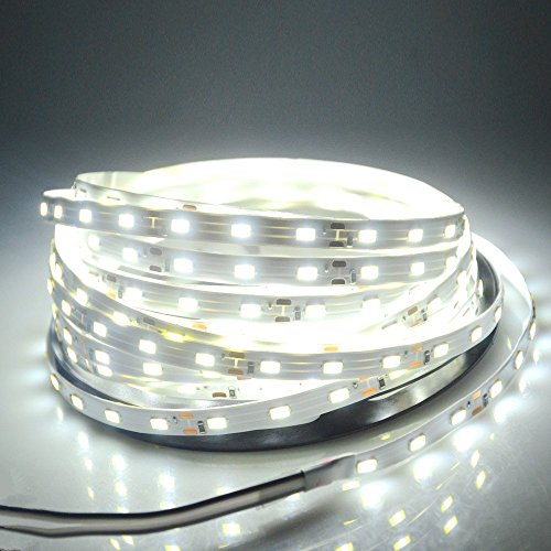 WenTop® Led Strip Lights SMD 3528 16.4 Ft (5M) 300leds 60leds/m White Flexible Rope Lighting Waterproof Tape Lights in DC Jack for Boats, Bathroom, Mirror, Ceiling and Outdoor