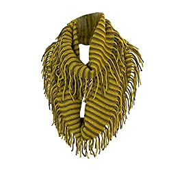 Yellow and Brown Bohemian Knit Striped Infinity Loop Scarf Wrap w/ Fringe Tassels