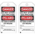 "Brady  86635 5 3/4"" Height x 3"" Width, Cardstock (B-853), Black/Red on White Accident Prevention Tags (100 Tags)"