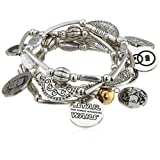 Star Wars Jewelry Episode 7 Rey Stainless Steel Charm Stretch Bracelet