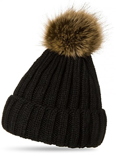 CASPAR Womens Winter Rib Knitted Hat / Beanie with Chunky Faux Fur Bobble Pom Pom - many colours - MU054, Colour:black