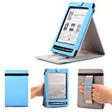 Mulbess - Sony PRS-T1 Stand Case Cover - Leather Case Cover with Elastic Hand Strap for Sony PRS-T1 Color Blue