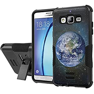 Galaxy [On5] Armor Case [NakedShield] [Black/Black] Urban Shockproof Defender [Kick Stand] - [Earth] for Samsung Galaxy [On5]