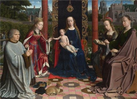 Perfect Effect Canvas ,the Imitations Art DecorativeCanvas Prints Of Oil Painting 'Gerard David - The Virgin And Child With Saints And Donor,probably 1510', 10x14 Inch / 25x35 Cm Is Best For Study Decoration And Home Artwork And Gifts