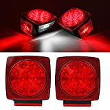 "Partsam 2pc Submersible Square Red White LED Stop Turn Tail License Brake Trailer Light kit Sealed 12V for Camper Truck RV Boat Snowmobile Under 80"" Inch Marine"