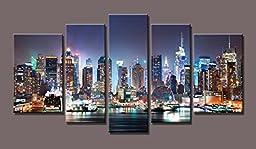 New York Canvas Print,set of 5 Total 10x16inchx2pcs,8x20inchx2pcs,8x24inchx1pcs, Brand Original Youkuart