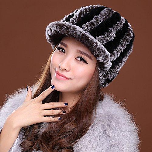 Dngy*Cap berretto da baseball caldo inverno tappi tappo auricolare peli di coniglio in pelle cappelli cappello di paglia bambini autunno inverno , nero colore caffè