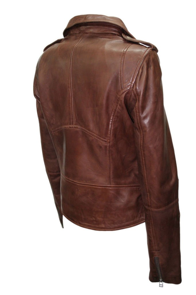 Ladies Retro Brando Chestnut Brown Biker Casual Soft Nappa Leather Jacket 2