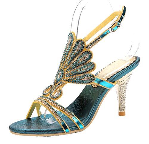 Honeystore Women's Peacock Shaped Pattern Handmade Rhinestone Sandals Blue-01 9 M(B) US