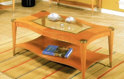 Cocktail Coffee Table with Glass Inlay Top in Pine Finish