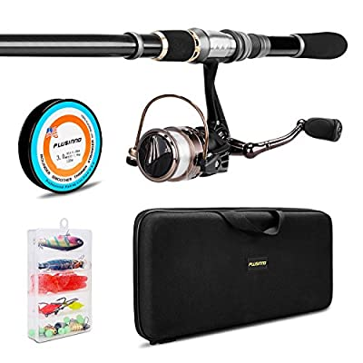 PLUSINNO Telescopic Fishing Rod and Reel Combos FULL Kit, Spinning Fishing Gear Organizer Pole Sets with Line Lures Hooks Reel and Fishing Carrier Bag Case Accessories from PLUSINNO