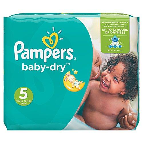 Pampers, Pannolini Baby Dry, misura 5 (11 - 25 kg), confezione mensile, 144 pz.