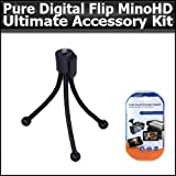 Ultimate Accessory Kit For Pure Digital Flip Video Camera MinoHD Camcorder 3rd Generation M3160S, M31120B NEWEST MODEL Includes Mini Tripod + Clear LCD Screen Protectors