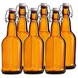 Chef's Star CASE OF 6 - 16 oz. EASY CAP Beer Bottles - AMBER