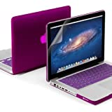 """GMYLE(R) 3 in 1 Deep Purple Matte Rubber Coated See-Thru Hard Case Cover for Aluminum Unibody 13.3"""" inches Macbook Pro - with Purple Silicon Keyboard Protector - 13 inches Clear LCD Screen Protector - (not fit for 13 Macbook Pro with Retina display)"""