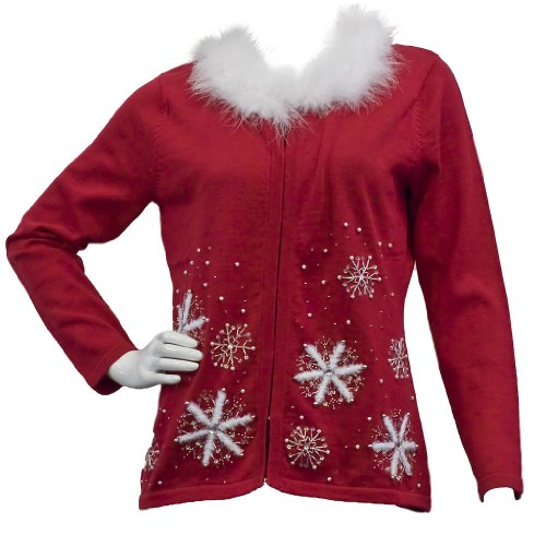 pretty xmas sweater with fur collar 