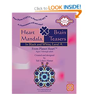 cover of the book for the Heart Mandala brain teasers in black and white, level A, for ages 4 and up