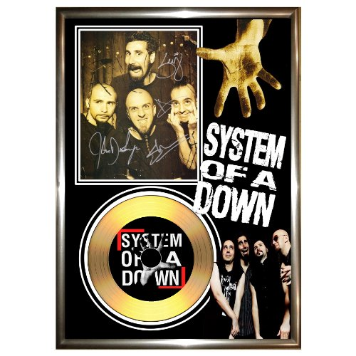 SYSTEM OF A DOWN, con la firma in oro con dischi in vinile CD & PHOTO DISPLAY serj tankian