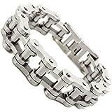 BH STEEL Jewellery Mens Heavy Wide Stainless Steel Bike Chain Bracelet,Biker Bracelets