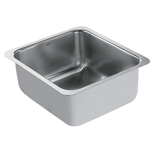 Moen G18443 1800 Series 18-Gauge Single Bowl Undermount Sink, Stainless Steel