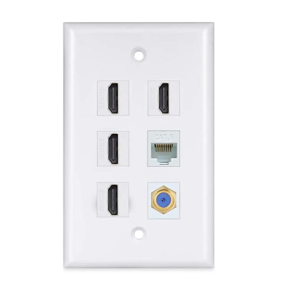 4 Port HDMI Keystone Wall Plate - 4K HDMI Ethernet Coax Cable TV F-Type Faceplate - 4 HDMI Keystone + 1 Cat6 Ethernet + 1 Coax F-Type (Color: white)