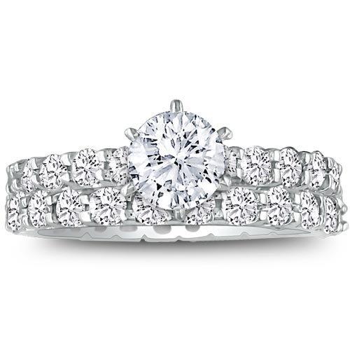 SuperJeweler 14K White Gold Diamond Eternity Bridal Ring Set 4 3/5ct tw G/H SI