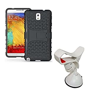 Hard Dual Tough Military Grade Defender Series Bumper back case with Flip Kick Stand for Samsung NOTE 3 + 360 Degree Car Mobile Holder Mount Bracket Holder Stand By Carla Store.