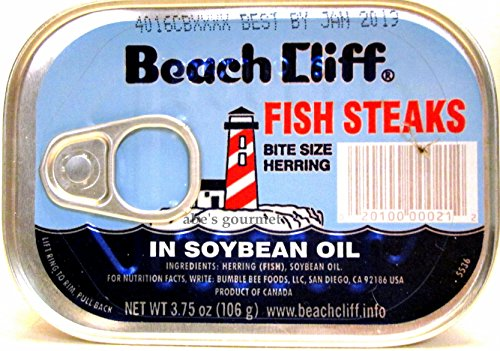 Beach cliff bite size herring fish steaks in soybean oil for Beach cliff fish steaks