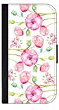 01-Watercolor Florals Wallet Case for the Samsung Galaxy s5 i9600-Black leather-Look Case with Flip Cover and Magnetic Closure