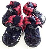 全5サイズ[sealche]ペット犬靴シューズ(熱くなったアスファルトや冷たい雪など傷つきやすいワンちゃんの肉球の保護します)黒ブラック サイズXL:長さ5.7cm 幅4.5cm