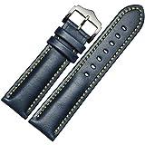 Lemcos  時計ベルト 時計 バンド 交換ベルト 本革ベルト 腕時計ストラップ クラシカルな雰囲気の尾錠 ワンタッチで装着簡単 アダプター付き 時計 ベルト 20mm (ブルー)
