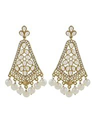The Jewelbox Gold Plated Pearl CZ Filigree Long Chandelier Festive Earring