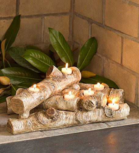 Logs Hearth Candle Holder, in Birch (Resin Fireplace Logs compare prices)