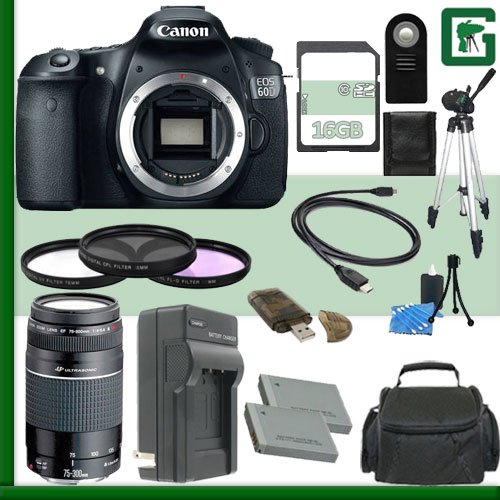 Canon Eos 60D Digital Slr Camera And Canon 75-300Mm Iii Usm Lens + 16Gb Green'S Camera Package 2