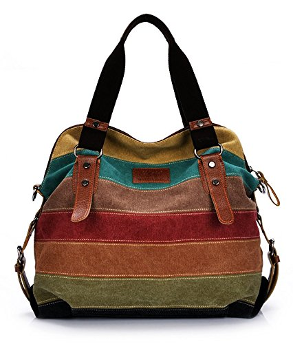Casual Style Canvas Hobo Bag Tote Bags – Crossbody Shouder Bag – Fit 14 Laptop