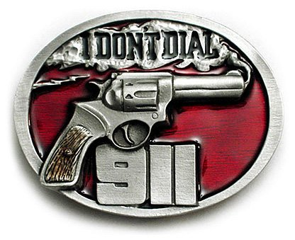 I DON'T DIAL 911 Belt Buckle Gun Rights NRA Firearms (Nra Belt Buckle compare prices)