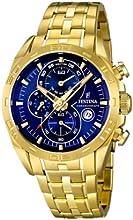 Comprar Festina F16656/3 - Reloj analógico de cuarzo para hombre, correa de acero inoxidable chapado color dorado (cronómetro)
