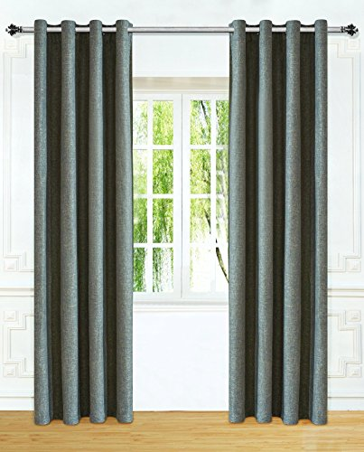 Ifblue Window Treatments Thermal Insulated Linen-Look Textured Eyelet Curtain (52