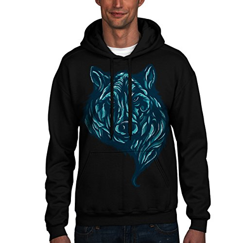 Wellcoda | Lone Grey Wild Wolf Mens NEW USA Animal Black Hoodie 4XL