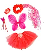 Pink & Hotpink 5 Piece Flower Fairy Princess Costume Set. Includes Tutu, Wings, Wand and Flower Halo