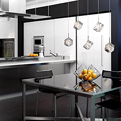 (USA Warehouse) NEW Modern Bar Cubic Crystal Light Pendant Lamp Chandelier Ceiling Light Dining -/PT# HF983-1754392095