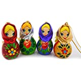 Hand Carved Painted Russian Wood Christmas Ornament Girl with Scarf