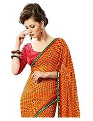 Faux Georgette Saree In Orange Colour For Casual Wear Wear - B00V6GMI5W