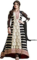 VH Fashion Smashing Black Embroidered Semi Stitched Long Anarkali Suit