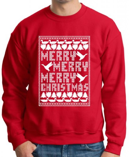 Merry Merry Merry Christmas Ugly Sweater Premium Crewneck Sweatshirt Medium Deep Red