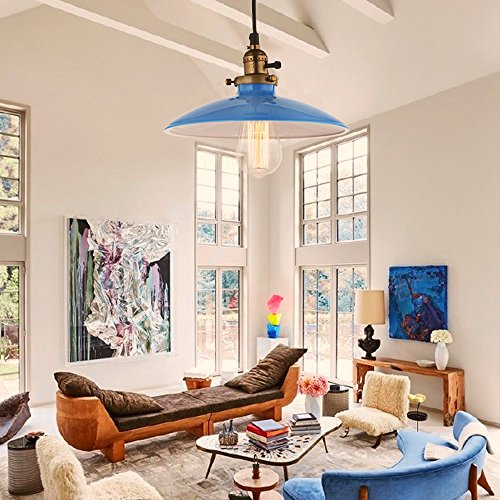 JEMMY HO Metal Pendant Light Dia 10 Inches Mini Vintage Industrial Barn Pendant Lamp (Blue) 3
